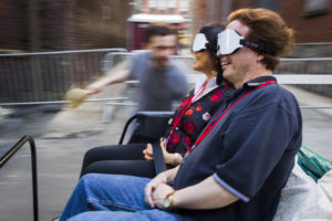 blindfolded patrons in a petty cab