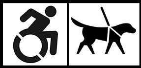Accessibility icons for wheelchair access and service animals.