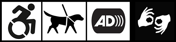 Accessibility icons for wheelchair access, service animals, audio description, and ASL interpretation.