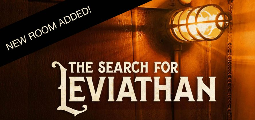 A marine light (bulb in protective cage) hangs out from a brown wooden paneled wall, giving off an orangeish glow. The words The Search For Leviathan are in the bottom center in a light beige color. In the upper left corner, a black banner stretches across with the words
