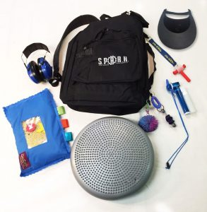 The contents of Spark explorer pack, including headphones a backpack and other items